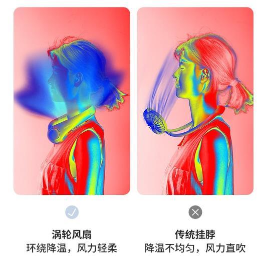 风扇界新神器!网民力推新一代挂颈风扇 外型似耳机 风力似冷气?